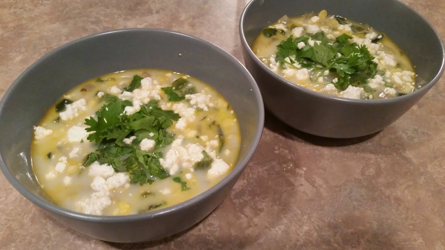 Spicy Goat Cheese Pablano Corn Chowder