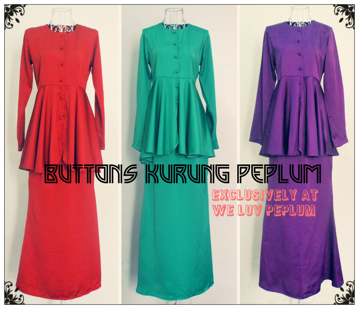 buttons kurung peplum for breastfeeding mother