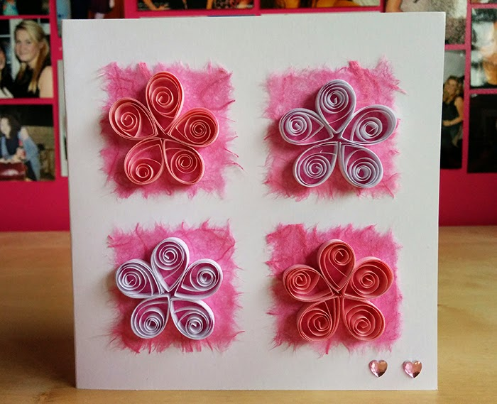 DIY Quilled Handmade Mother's Day Card Birthday Flowers Pink
