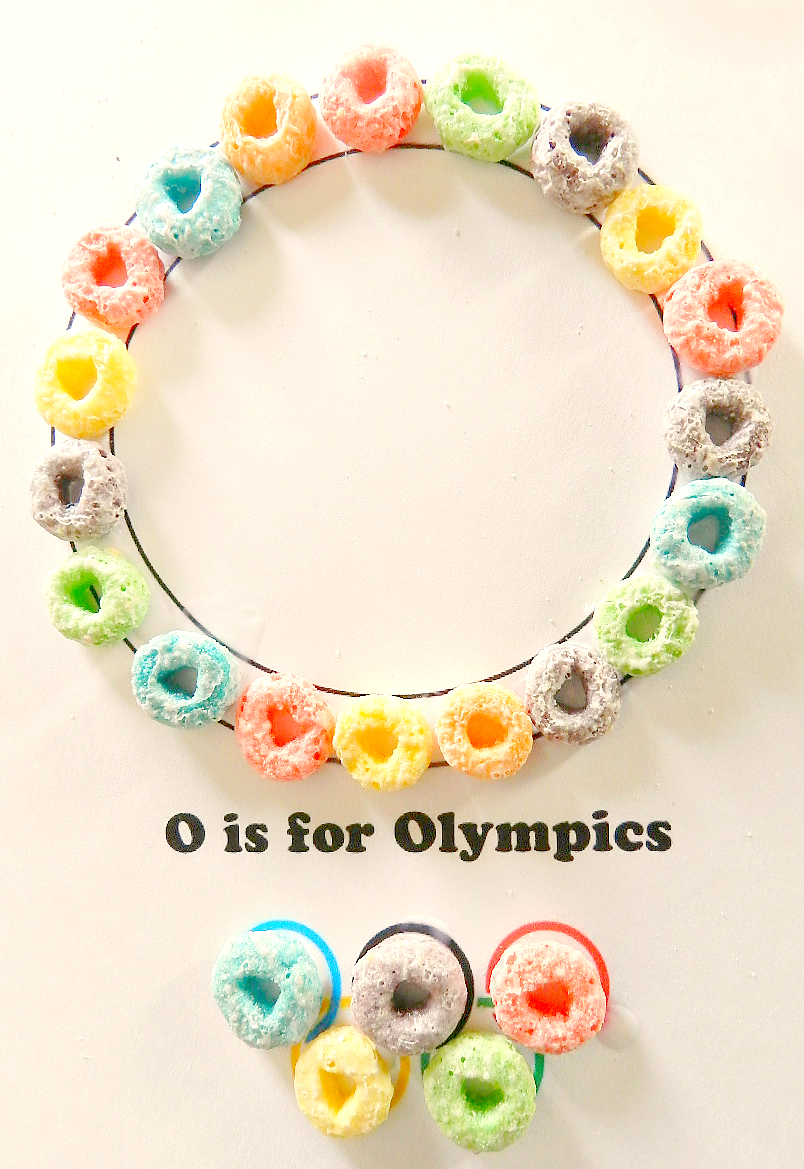 preschool craft, preschool Olympics craft, Fruit Loops craft