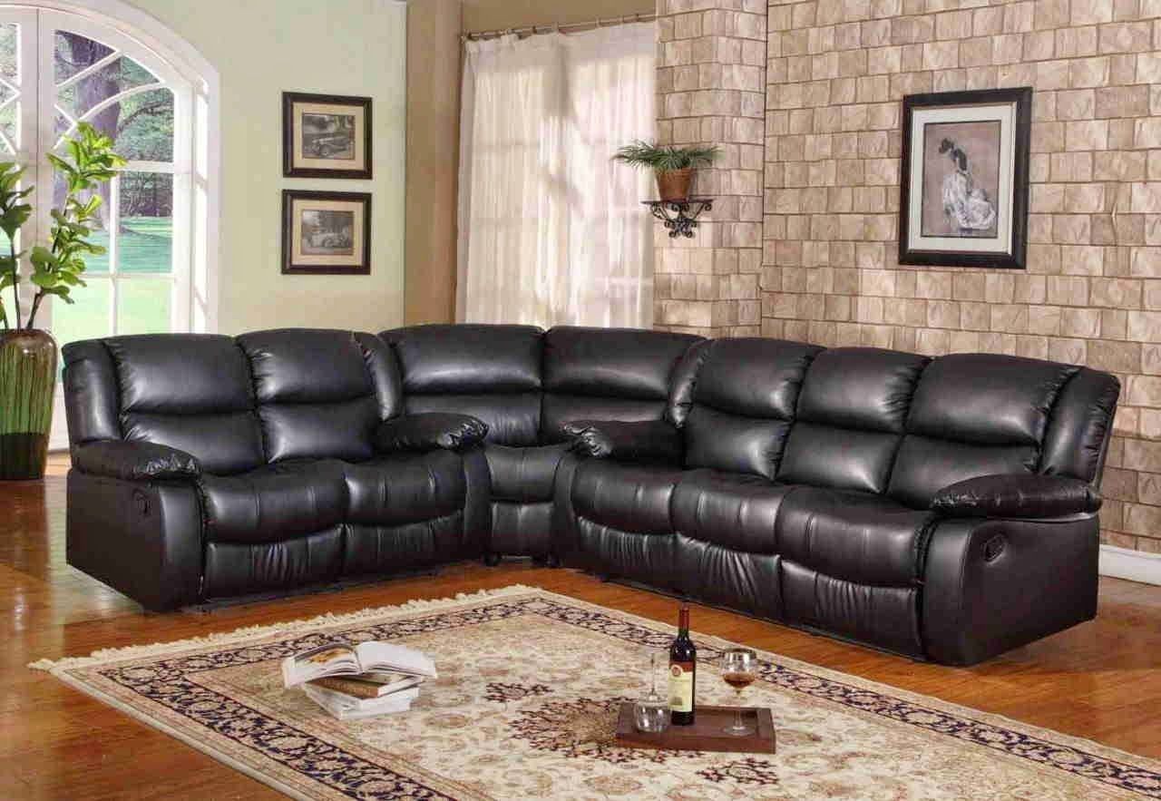 Curved Leather Reclining Sofa And