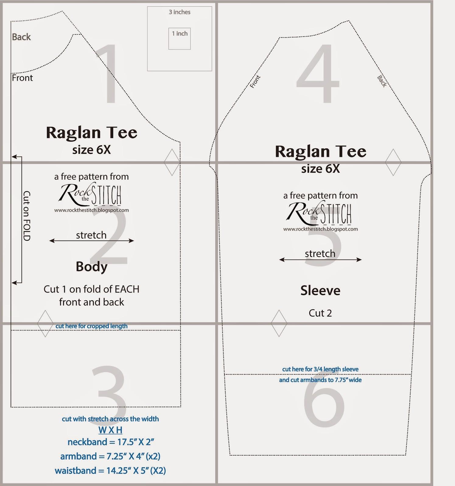 Rock the stitch free raglan tee pattern for 3 4 sleeve shirt template
