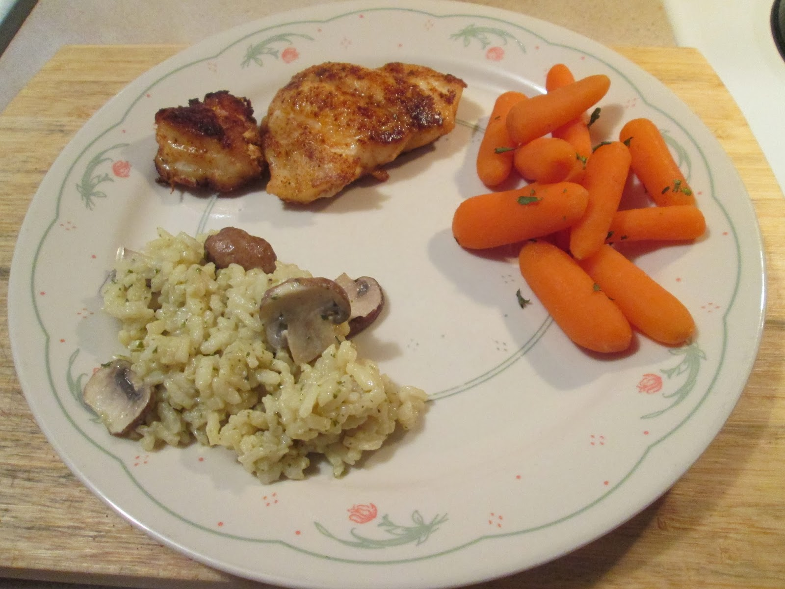 ... grouper w/ mushroom and parmesan risotto, boiled mini carrots
