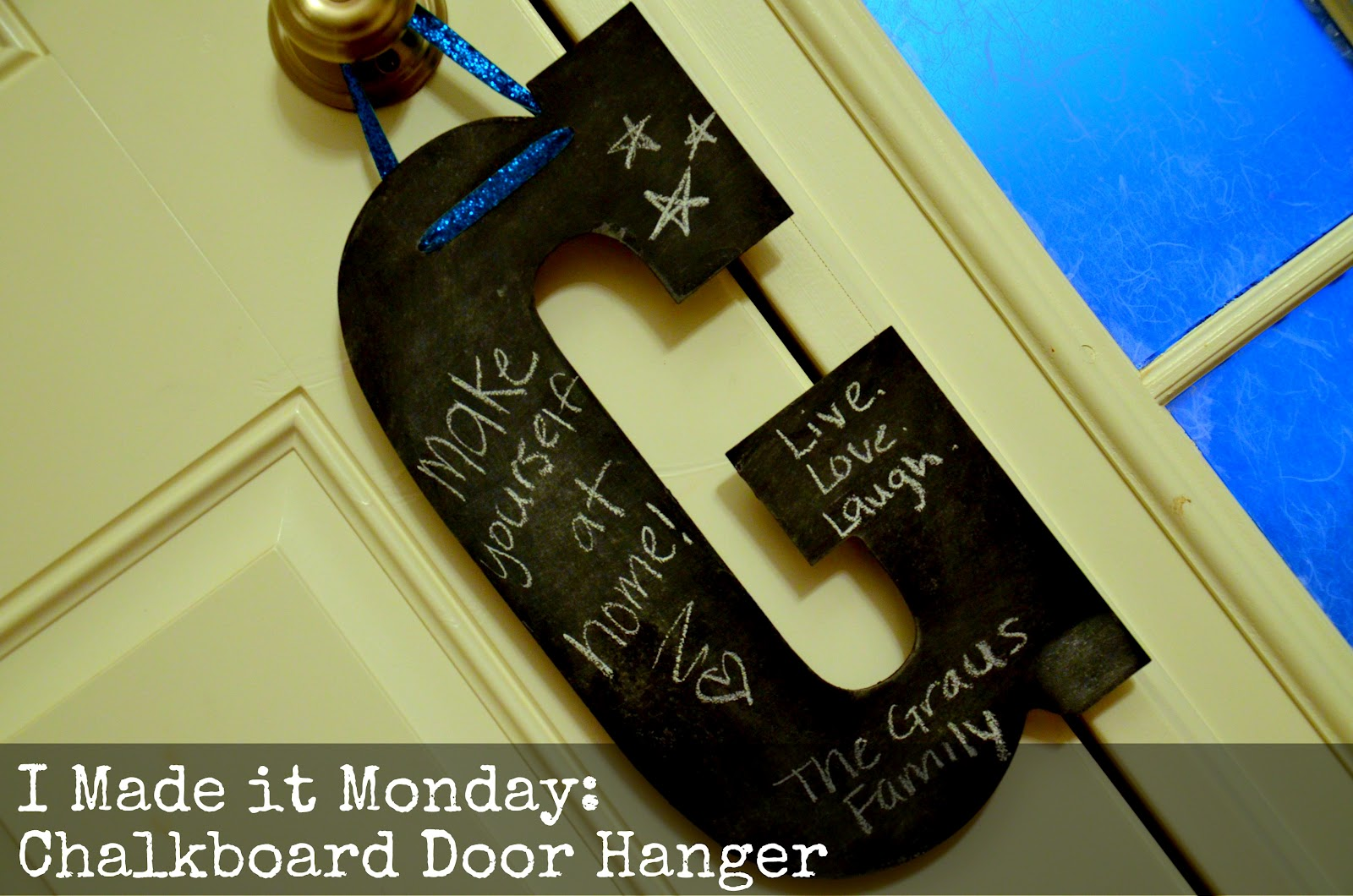 I Made it Monday- Chalkboard Door Hanger - All Things Pretty