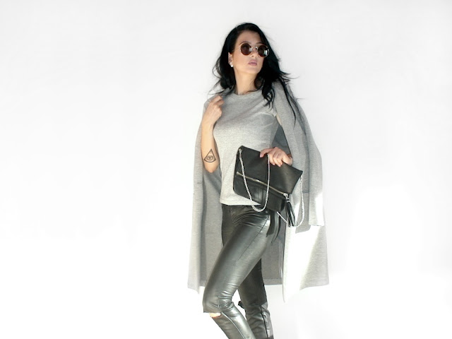 grey leather minimal outfit ideas