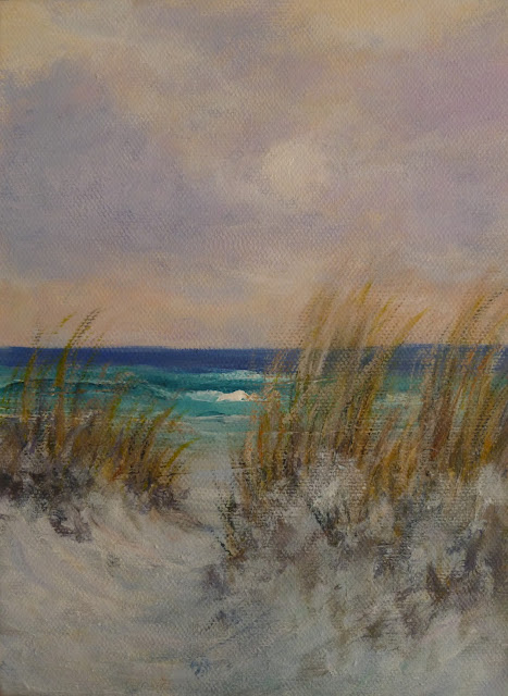 Sunset painting of a beach and sand dunes