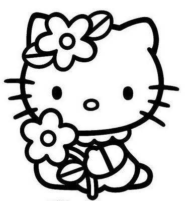 Flower Coloring Sheets On Hello Kitty Pages Free