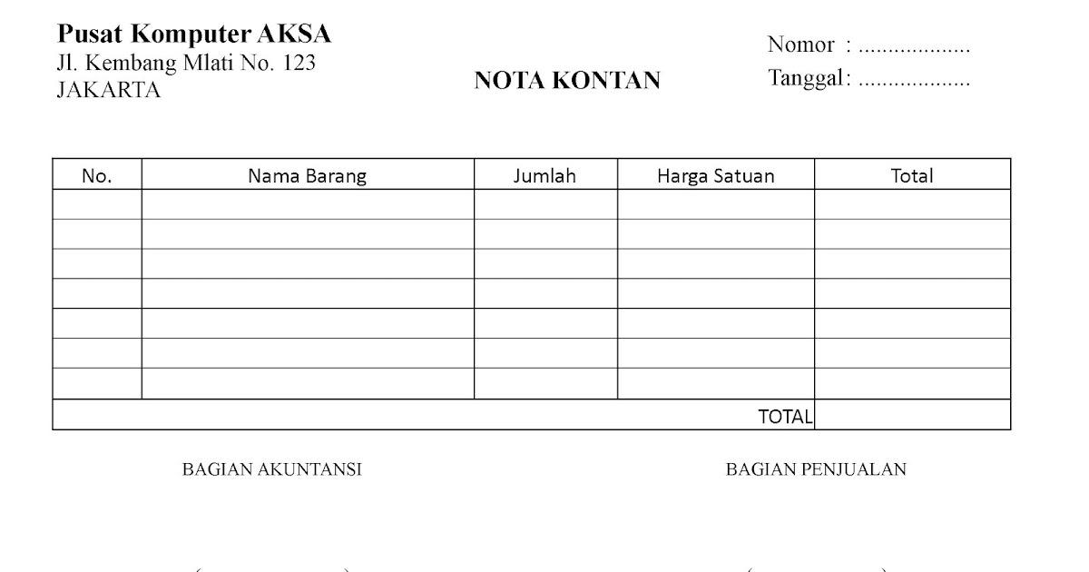 Nota Kontan Dewi Ekowati