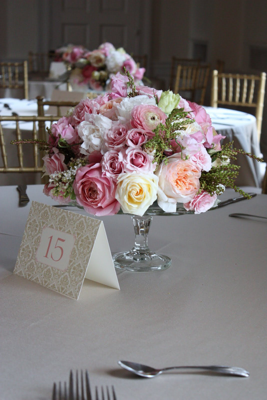 Cake Stand Candle Centerpiece : Blush floral design cakestand wedding at the new haven
