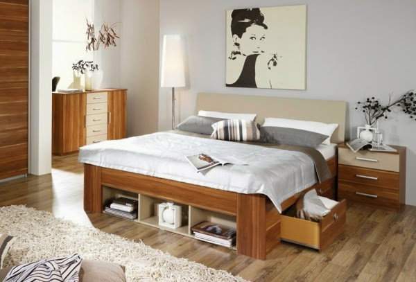 10 ideas for double bed with storage drawers and boxes for Small double bedroom ideas