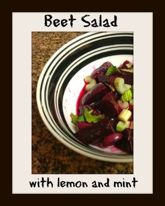 small salad of beets, celery, mint and lemon juice