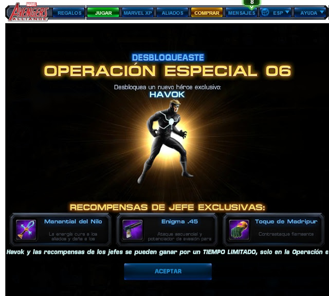 "Guía operación especial 6 ""CRY HAVOK"" Marvel Avengers Alliance"