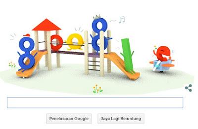 Tampilan Laman Utama Google 23 Juli 2015 - Google Doodle Turut Merayakan Hari Anak Nasional 2015