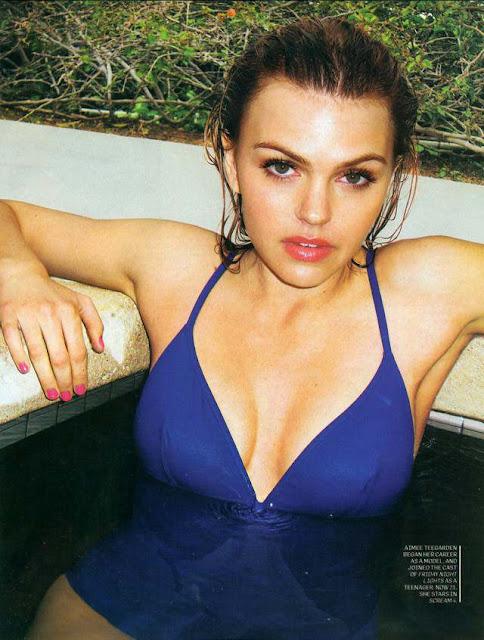 Aimee Teegarden sexy in blue bikini