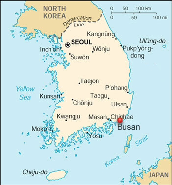 Map of Korea showing Busan and Seoul