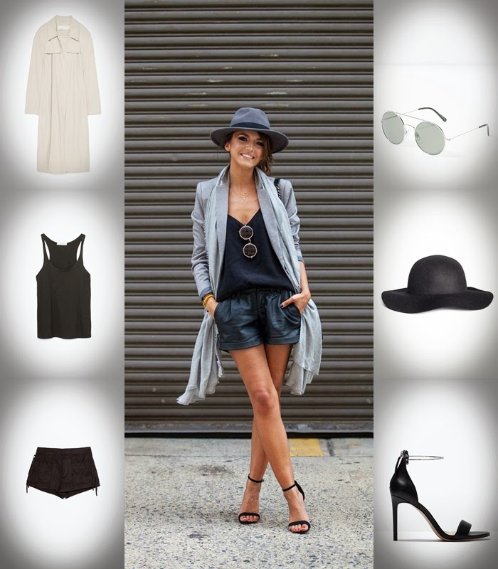 Look - Calções, t-shirt e trench coat Zara, Chapeu Bershka e Oculos HM