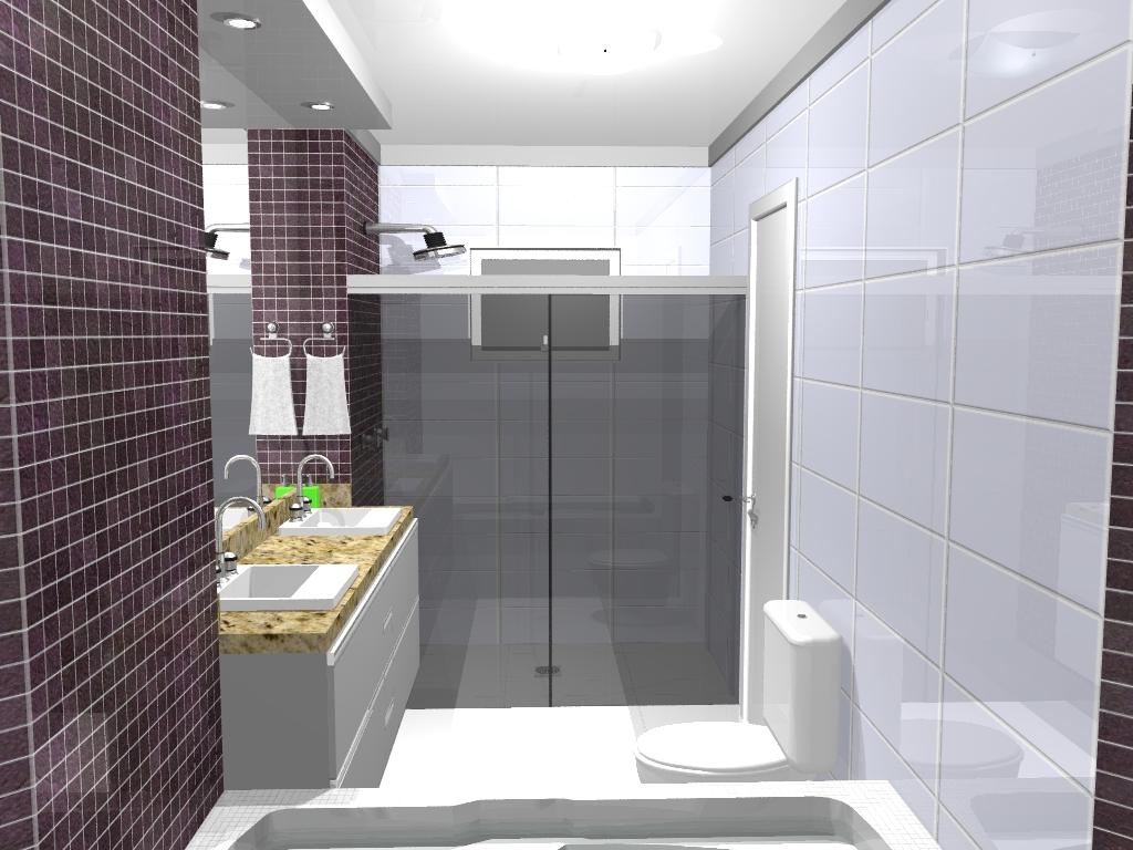 Design & Projetos  Perspectiva 3D de -> Cuba De Banheiro Roxa