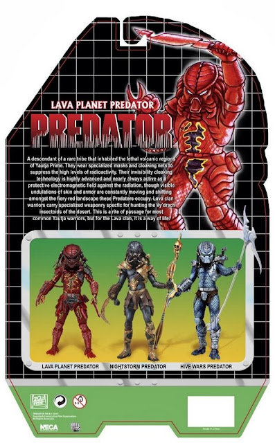 NECA Predator Series 10 Lava Planet Predator Card Back Packaging