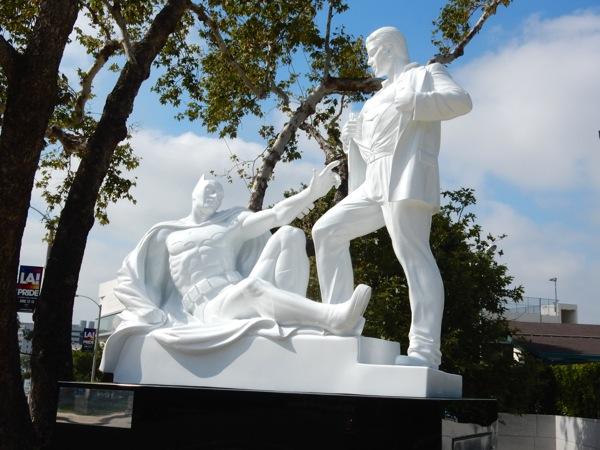 Modern Heroes Batman Superman statue West Hollywood Park