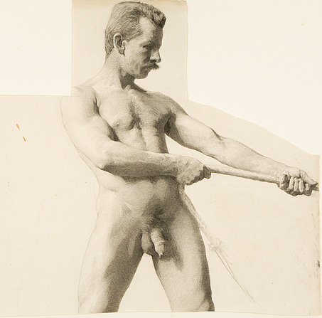 eakins+Man+Pulling+a+Rope.+Black+chalk+a