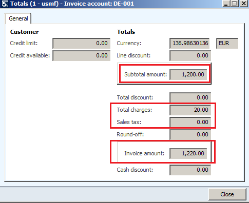 click on total to see all the required details of the free text invoice ie subtotal amount total sales tax calculated total charges applied