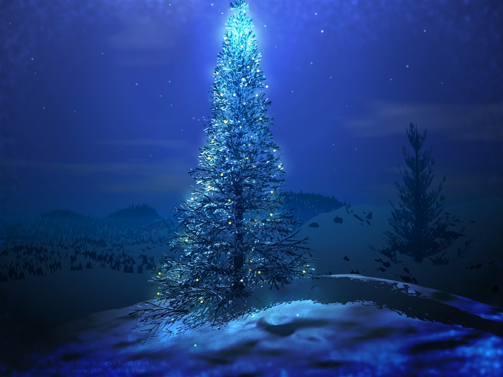 Free holiday wallpapers blue christmas tree
