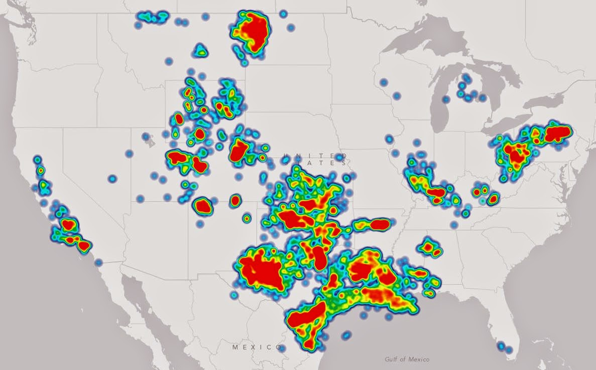 Drilling Maps Heat Map Of Oil Gas Drilling In The United States - North dakota map united states