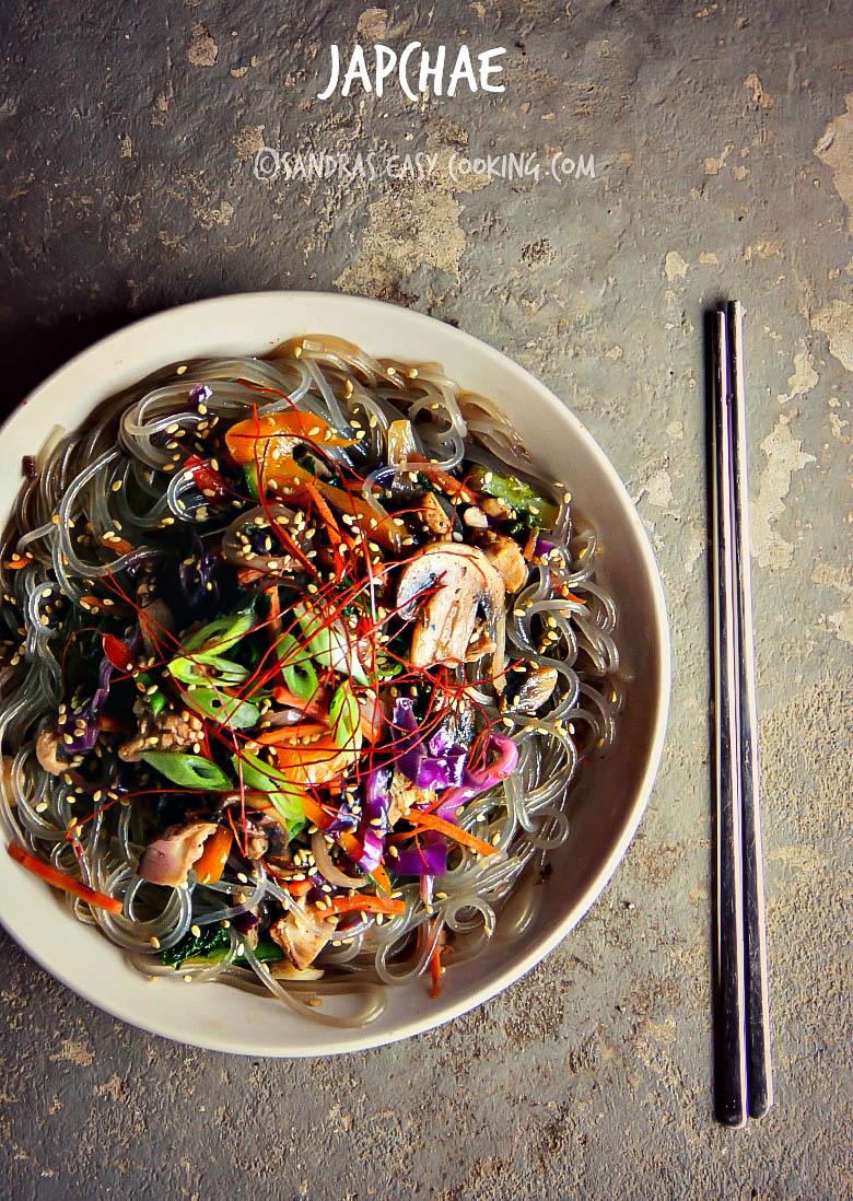 Sweet Potato Noodle Stir Fry -Japchae - SANDRA'S EASY COOKING