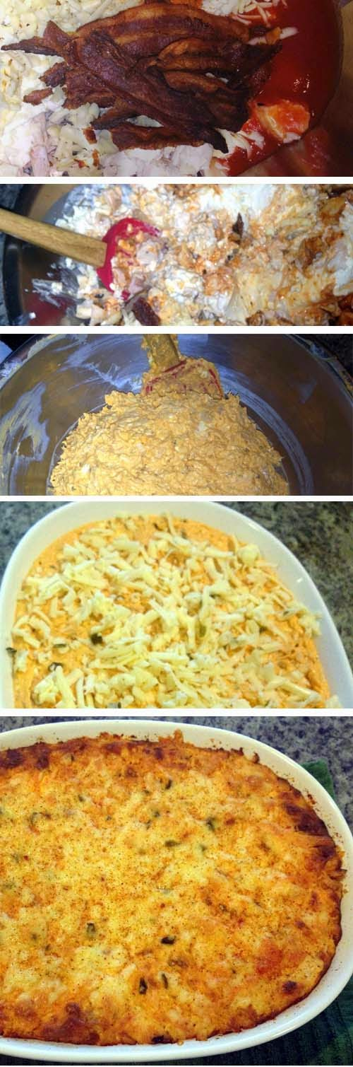 Making this Buffalo Chicken Dip is easy. Just put all ingredients in a bowl, mix and mash, then 0our in a baking dish. Ready to serve.