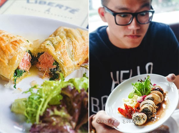 Left: Salmon en Croute  Right: Chicken Roulade (Culinary Bonanza)