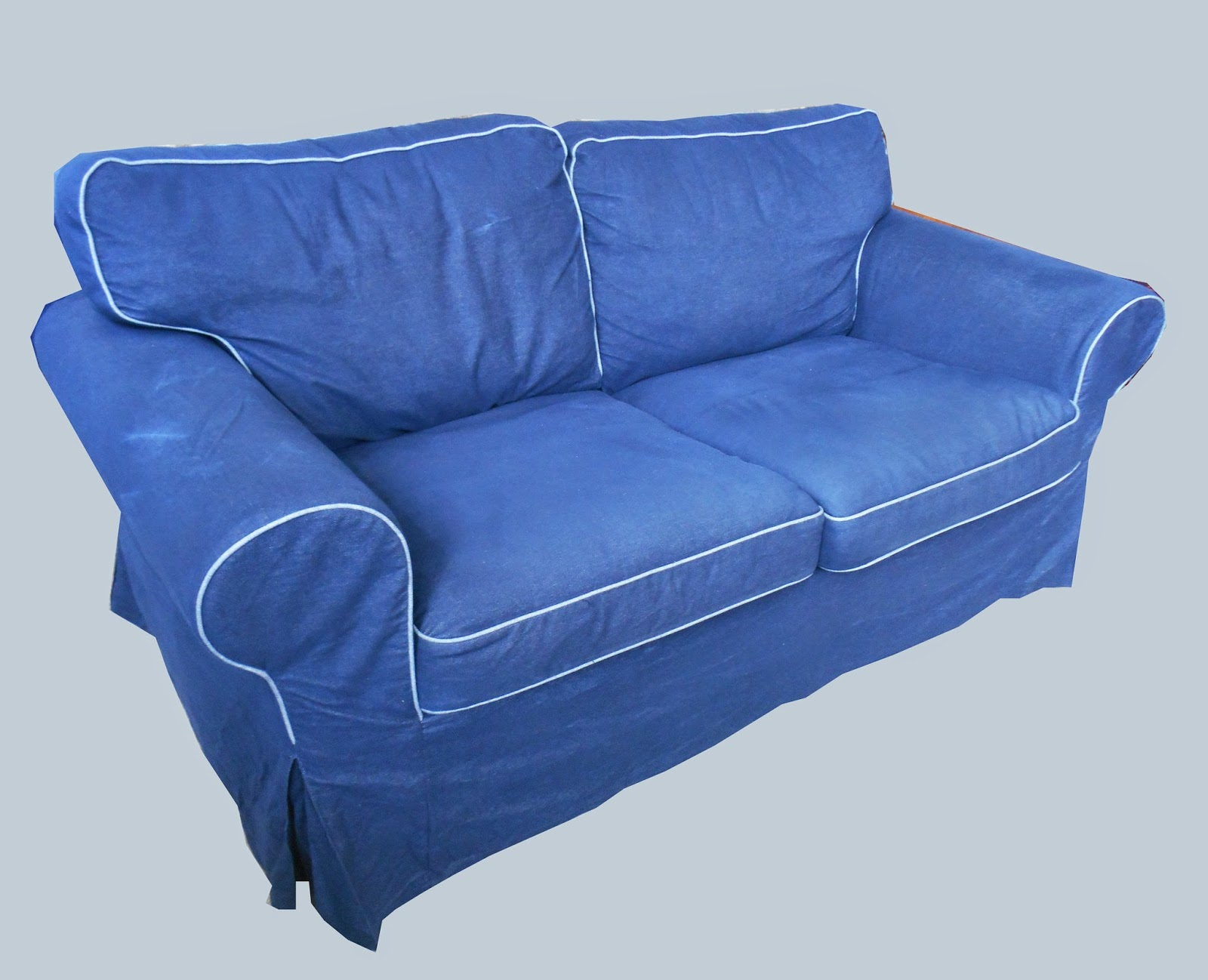 Uhuru furniture collectibles loveseat w classic denim slipcover 195 sold Denim couch and loveseat