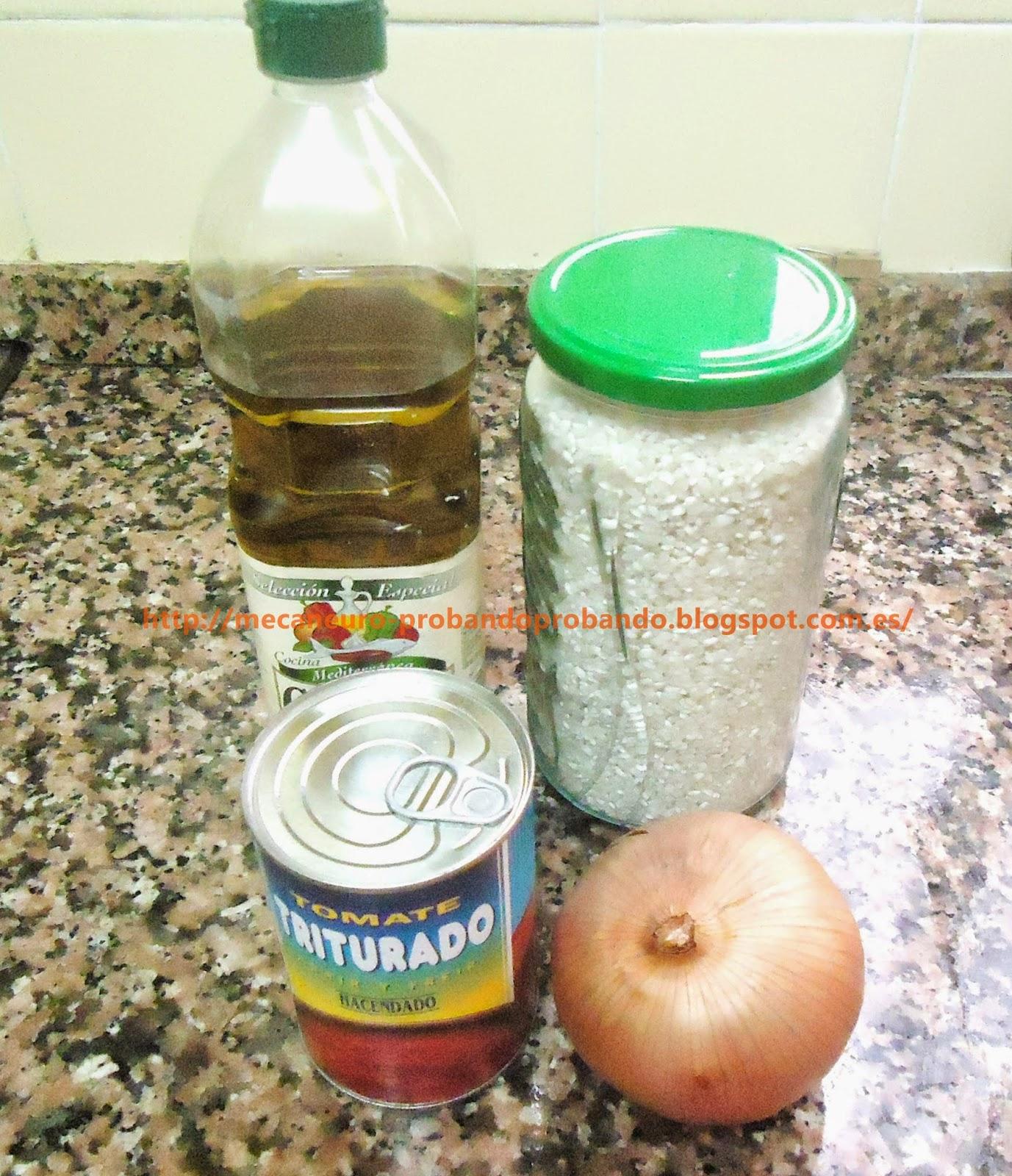 Ingredientes para cocinar arroz a la cubana