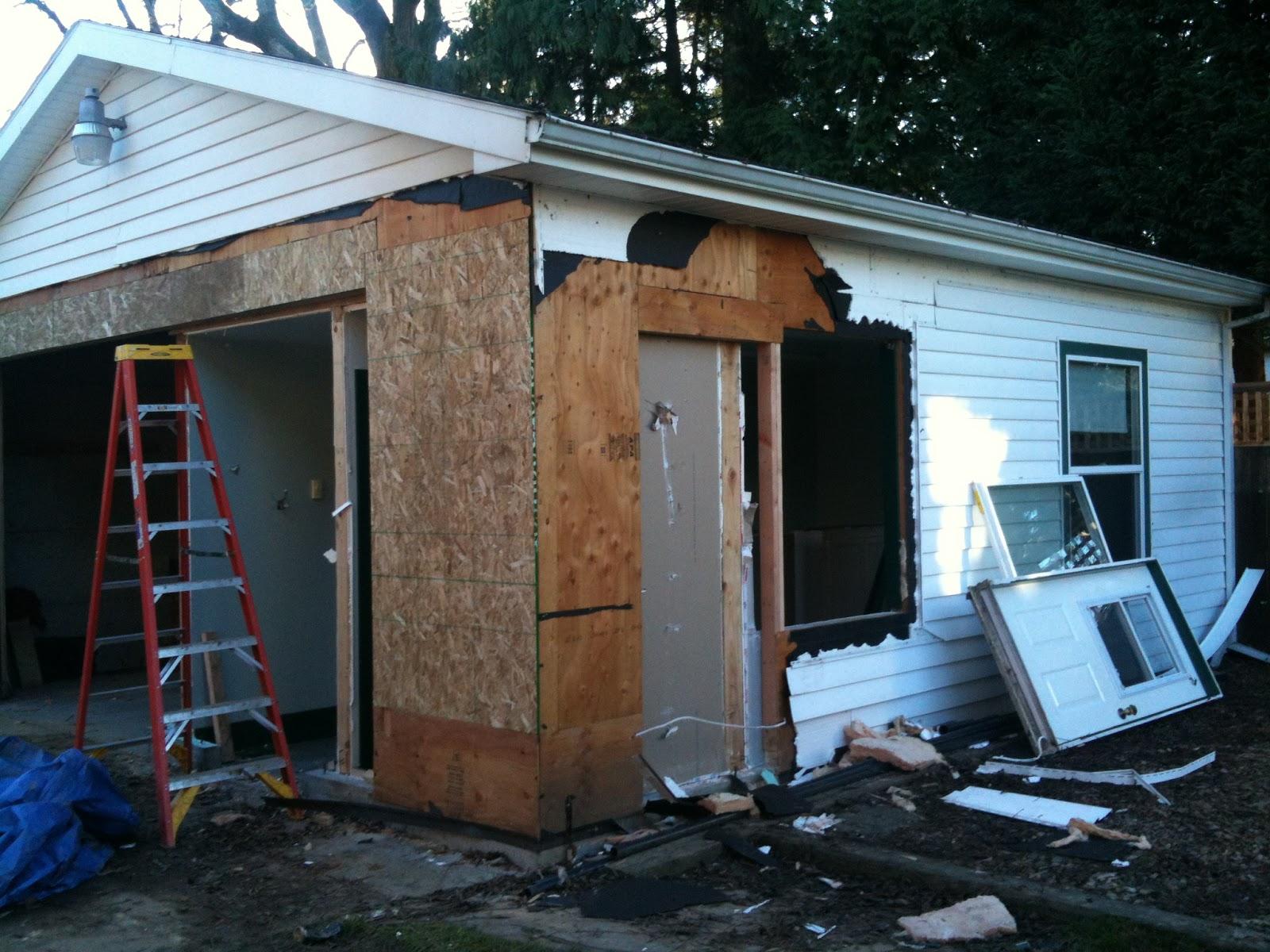 Craftsman house to combs home garage demo back deck for Garage side door and frame