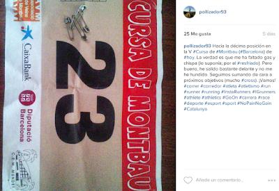 Dejando constancia de mi participación en la V Cursa de Montbau. | Fuente: Instagram