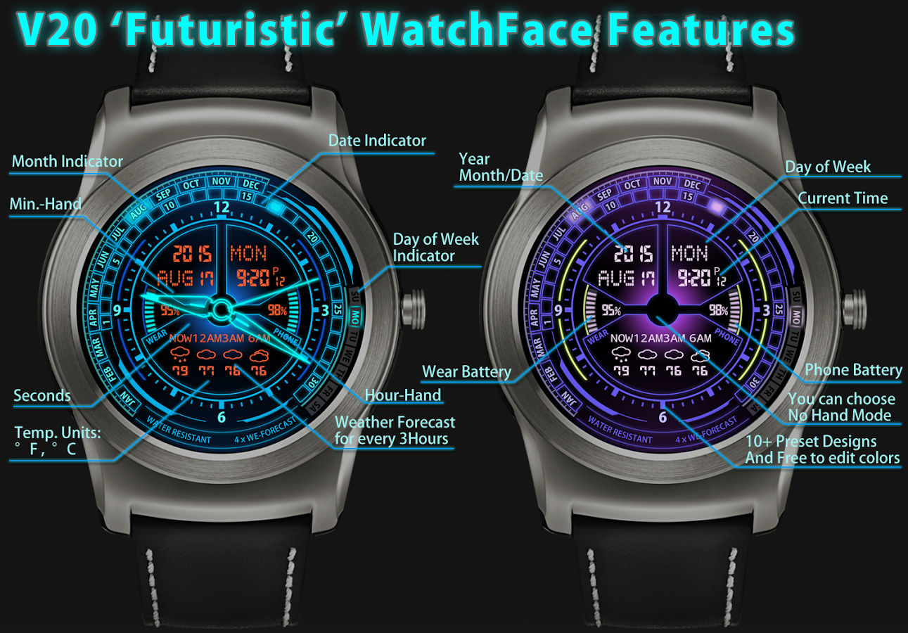 Designer android wear watchface - V20 Watchface For Android Wear