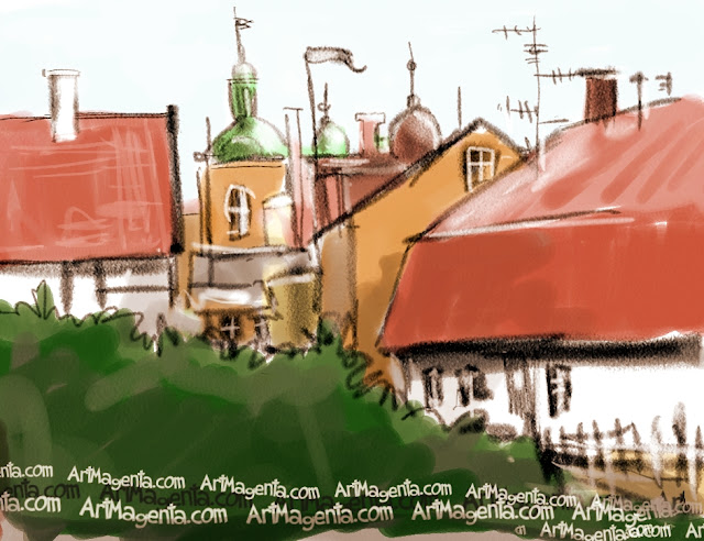 House roofs in Simrishamn is a sketch by artist and illustrator Artmagenta