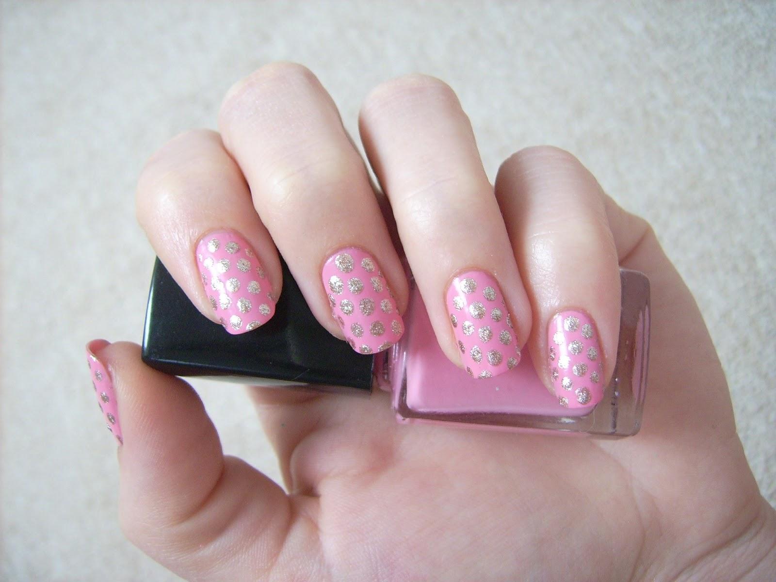 gold pink nail art