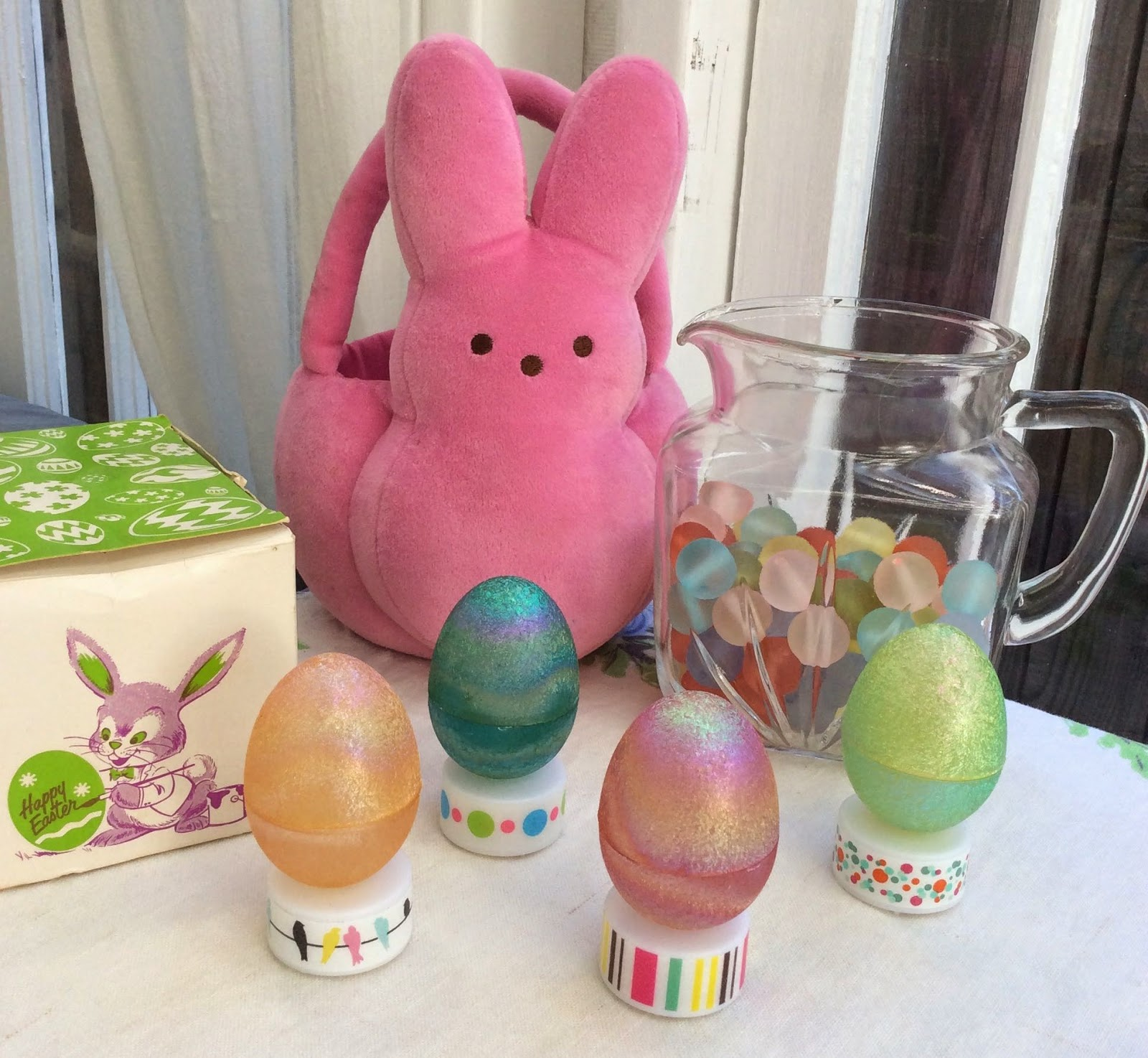 light up easter eggs, washi tape embellished battery lights, tea lights