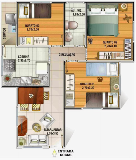planta humanizada de casa popular com 3 quartos