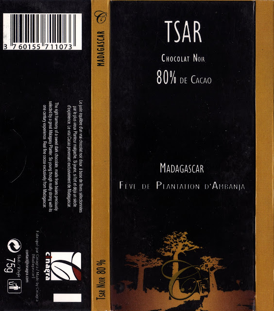 tablette de chocolat noir dégustation tsar chocolat noir madagascar 80