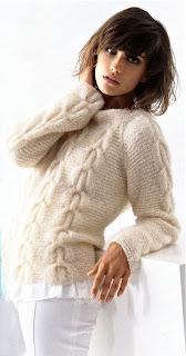 женский свитер с косами спицами схема.