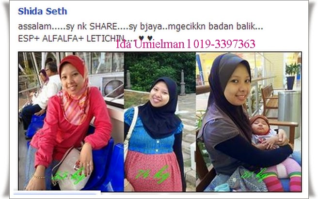 Testimoni Set Kurus Shaklee ESP Lecithin dan Alfalfa punca berat badan Puan Shida turun dari 74kg ke 51 kg