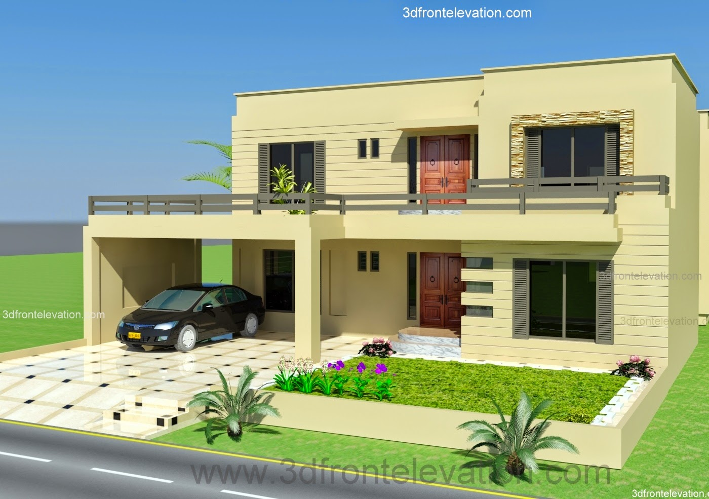 3d Front Elevation Lahore : D front elevation design house kanal