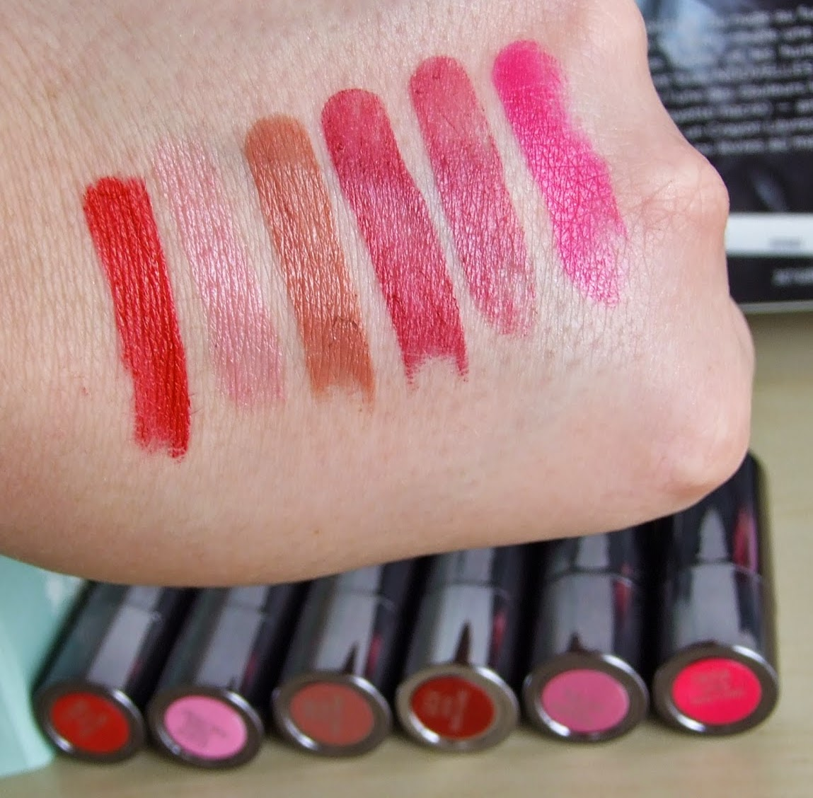 F-Bomb, Illicit, Liar, Gash, Ladyflower, Crush Urban decay revolution lipstick swatches review