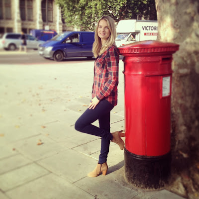 blue skinny jeans, victoria beckham denim, ankle boots, russell and bromley ankle boots, tartan shirt, post box, red post box, letter box, red letter box, letter box london