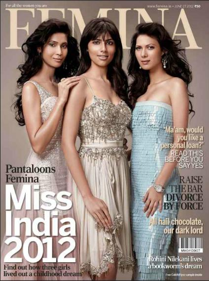 miss india 2012 vanya mishra on the cover of femina magazine june 2012