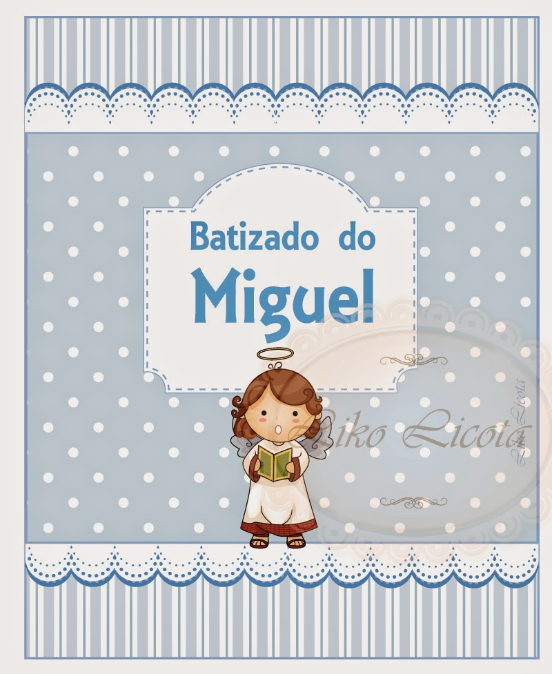 rótulos personalizados para batizado em azul e branco com anjinhos. Adesivo personalizado para batismo