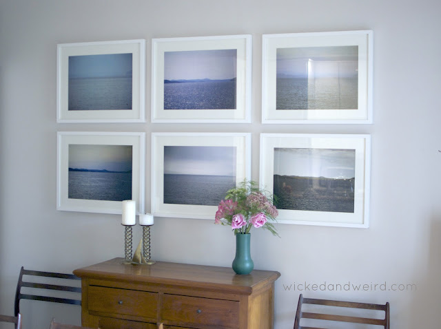 simple soothing dining room photo wall white Ikea frames