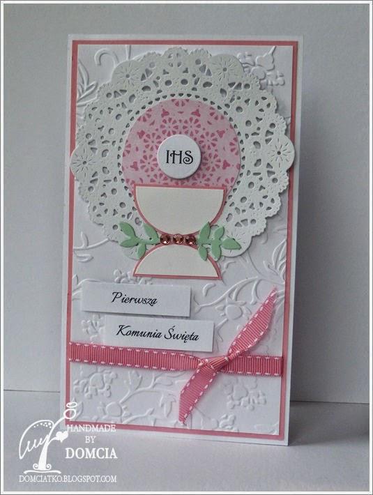 card, communion, kartka komunijna, różowa kartka