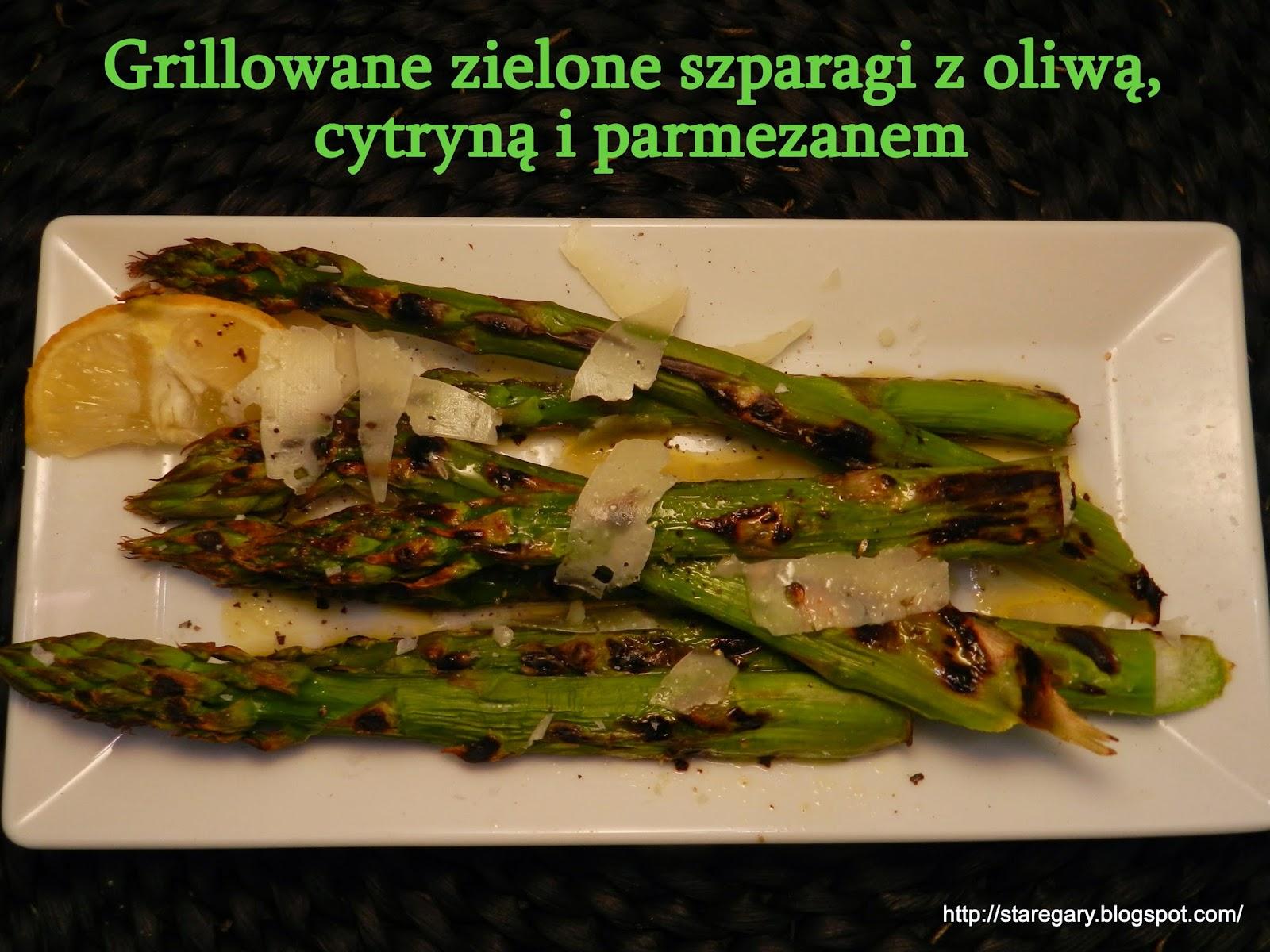 Grillowane zielone szparagi z oliwą, cytryną i parmezanem